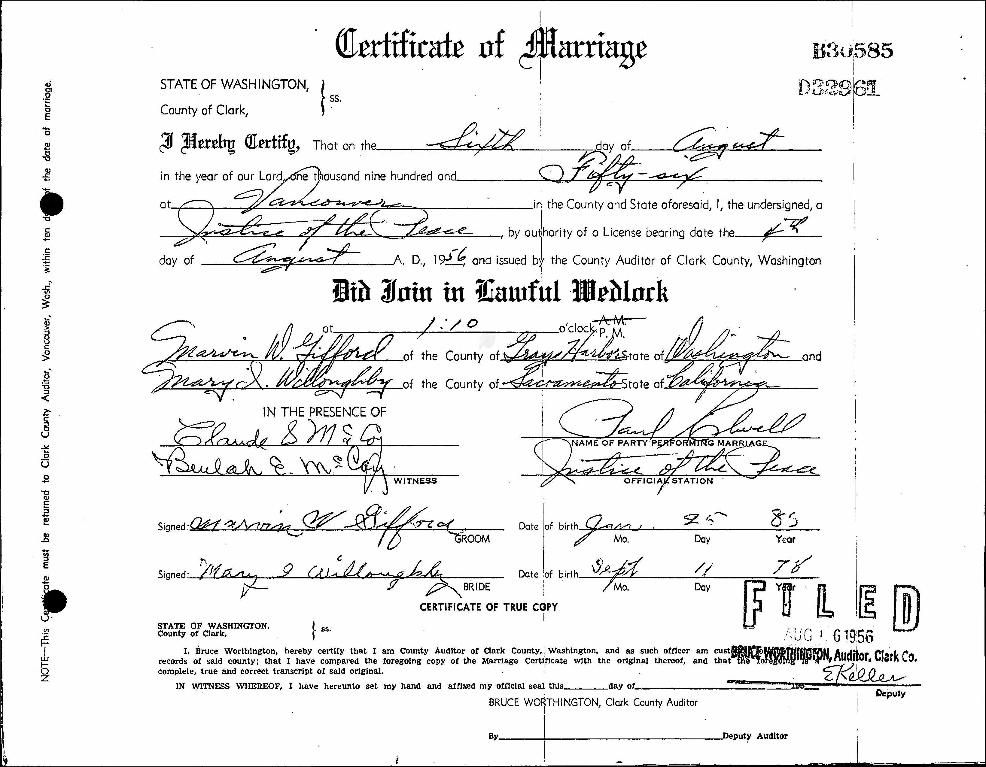 Documents Mary Ida Stuart And Marvin Gifford Marriage Certificate